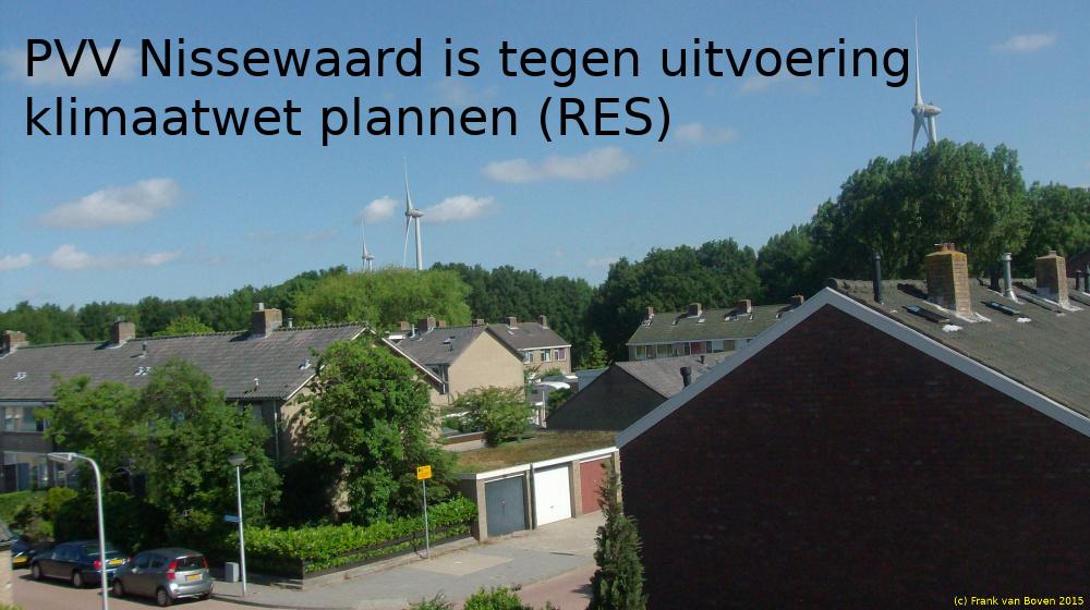 PVV Nissewaard is tegen uitvoering klimaatwet plannen (RES)