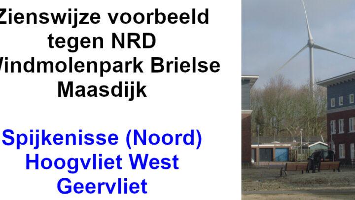 Zienswijze voorbeeld tegen NRD Windmolenpark Brielse Maasdijk – Spijkenisse (Noord), Hoogvliet West en Geervliet