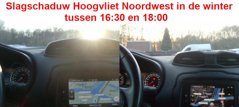 Slagschaduw Hoogvliet Noordwest in de winter tussen 16:30 en 18:00