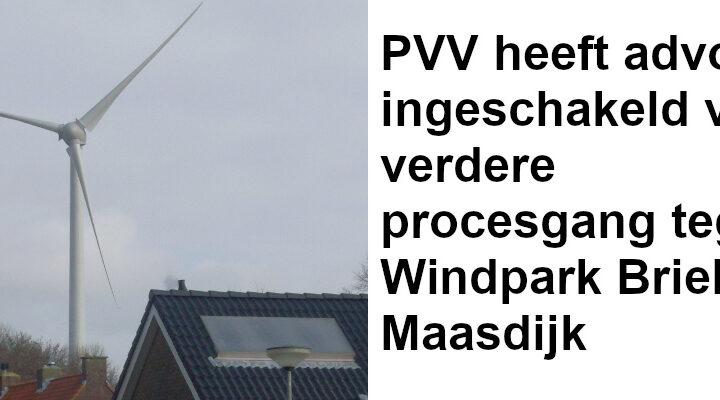 PVV heeft advocaat ingeschakeld voor verdere procesgang tegen Windpark Brielse Maasdijk