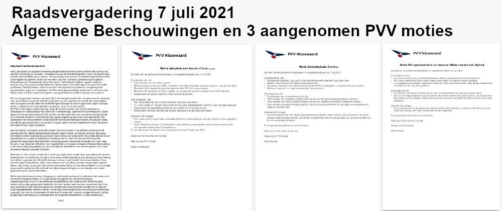Raadsvergadering 7 juli 2021: Algemene Beschouwingen en 3 aangenomen PVV moties
